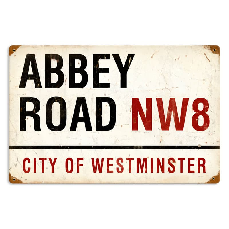 Abbey Road Vintage Metal Sign, 18 By 12 by Vintage Sign Company item number: PTS087
