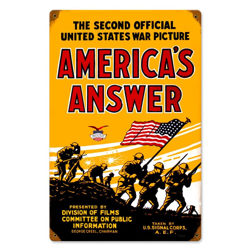 Americans Answer Vintage Metal Sign, 12 By 18 by Vintage Sign Company item number: PTS097