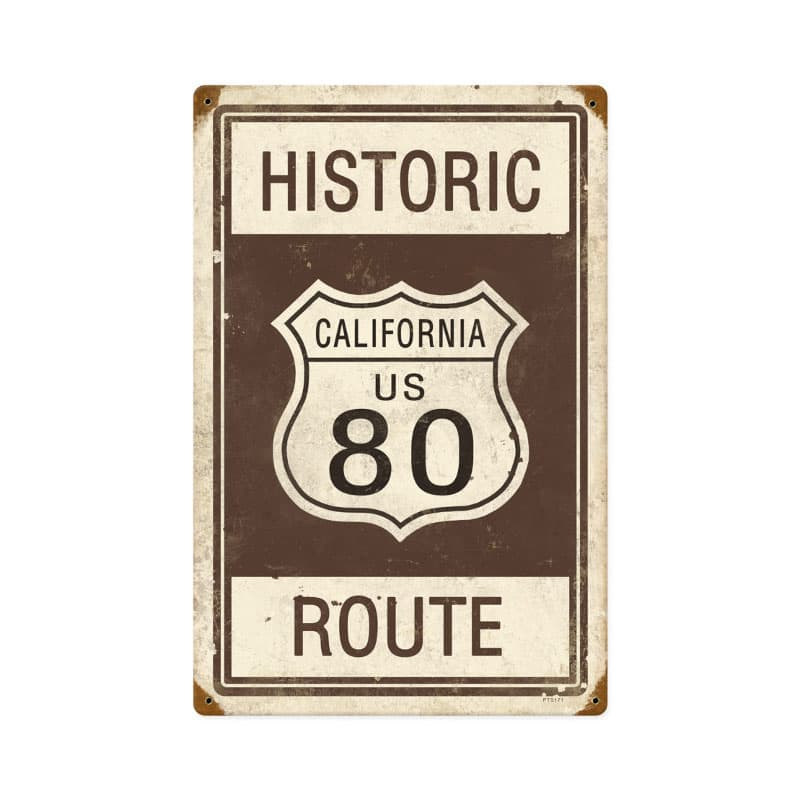 Historic Route 80 Vintage Metal Sign, 12 By 18 by Vintage Sign Company item number: PTS171