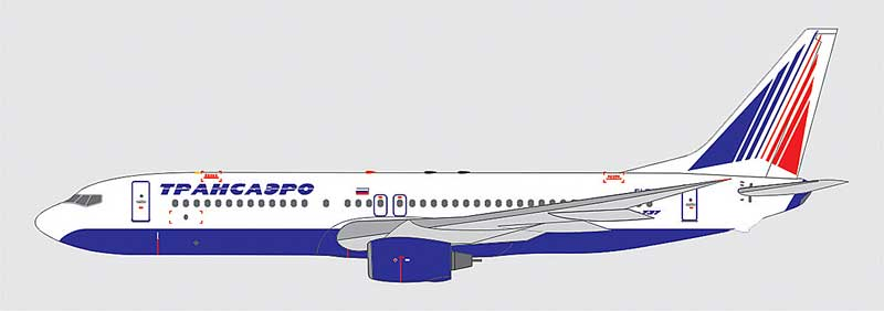 Transaero Airlines 737-81Q EI-RUJ (1:400), Apollo Diecast Item Number A13108