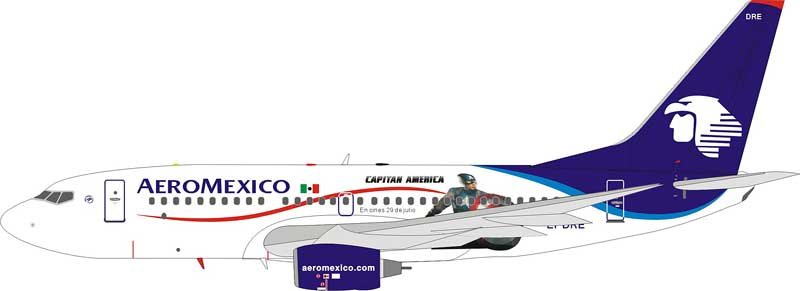 "Aeromexico 737-700 ""Captain America"" EI-DRE (1:200), Blue Box Airplane Models Item Number BBOX737AV2"