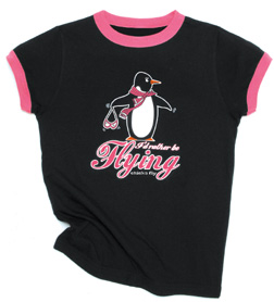Chicks Fly Penguin Girls T-Shirt, Born Aviation Aviation Gifts Item Number CF-PEN