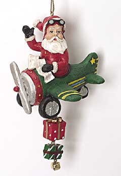 Santa in a Plane Ornament