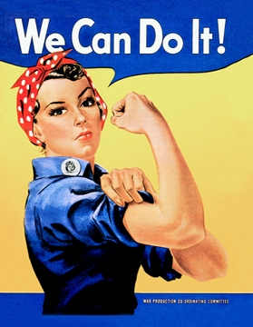 Rosie the Riveter - We Can Do It! Banner, Vintage Sign Company Item Number CANV024