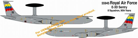 "Royal Air Force E-3D Sentry, 8th Sqd, ""90th Anniversary"" (1:400), DragonWings 400 Diecast Airliners Item Number DRW55945"
