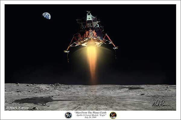 "Apollo / Lunar Module ""Men From The Planet Earth"" (Fine Art Print), Mark Karvon Aviation Art Item Number MKNALM"