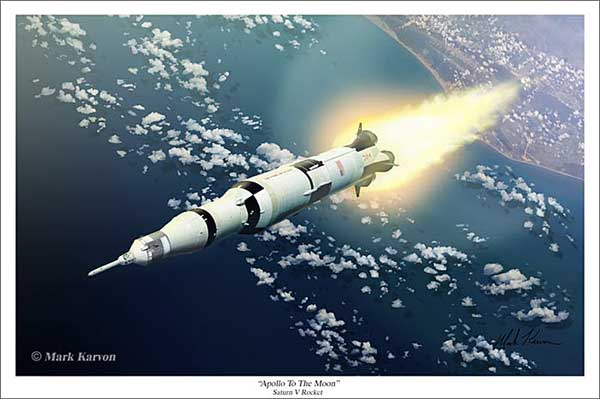 "Apollo / Saturn V ""Apollo to the Moon"" (Fine Art Print), Mark Karvon Aviation Art Item Number MKNASMOON"