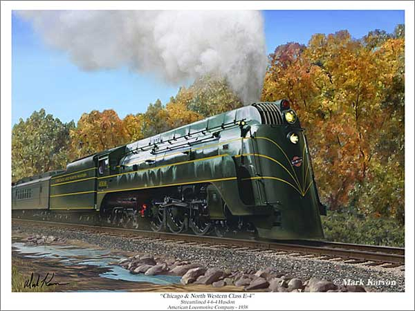 "C&NW Class E-4 ""Chicago & North Western Class E-4"" (Fine Art Print), Mark Karvon Aviation Art Item Number MKNCNWE4"