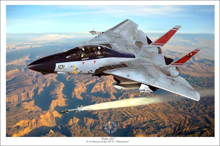 "F-14 Tomcat VF-31 ""Felix 101"" (Fine Art Print), Mark Karvon Aviation Art Item Number MKNF14"