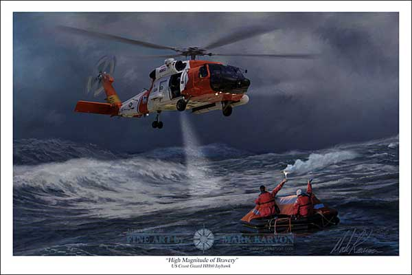 "MH60J Jayhawk ""High Magnitude of Bravery"" (Fine Art Print), Mark Karvon Aviation Art Item Number MKNMH60J"