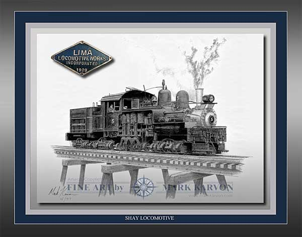 """Shay Locomotive"" (Pencil Print 11"" x 14""), Mark Karvon Aviation Art Item Number MKNSHAY"