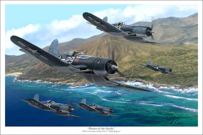 "F4-U Corsairs on Patrol ""Pirates of the Pacific"" (20"" x 30"" Limited Edition Print), Mark Karvon Aviation Art Item Number MKNVF17"