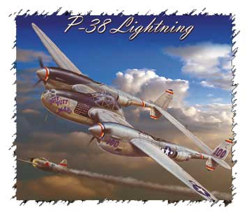 P-38 Lightning Tshirt (Front Logo/Back Image), Labusch Skywear Item Number TSFB-P38B