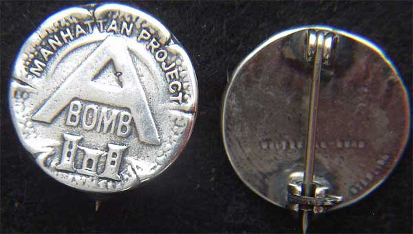 WWII Manhattan Project A-Bomb Sterling Pin A-bomb, Atomic Bomb, Manhattan Project, A-Bomb Pin, Sterling A-Bomb