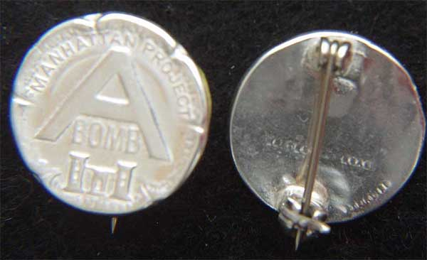 WWII Manhattan Project A-Bomb Sterling Pin  Bright Finish A-Bomb, Atomic Bomb Pin, Manhattan Project, Manhattan Pin