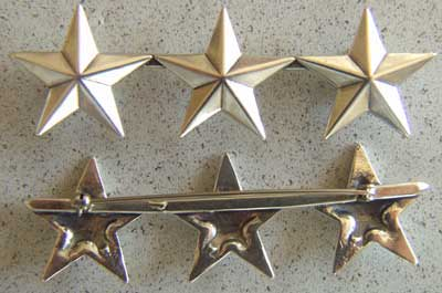 WWII 3 Star insignia Sterling Pin Back