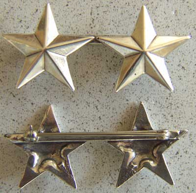 WWII 2 Star insignia Sterling Pin Back