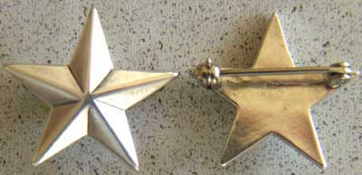 WWII 1 Star General Insignia Sterling