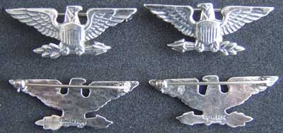 WWII Luxenberg Colonel Collar Rank Sterling War Eagle, Colonel, Sterling, Silver, Sterling Silver, WWII, war eagles, sterling war eagles, luxenberg, luxenberg insignia