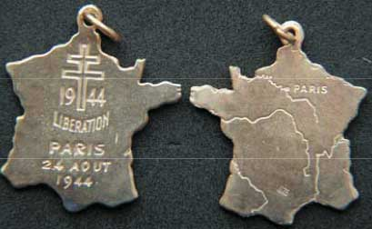 Liberation of Paris Charm, sterling with gold plate