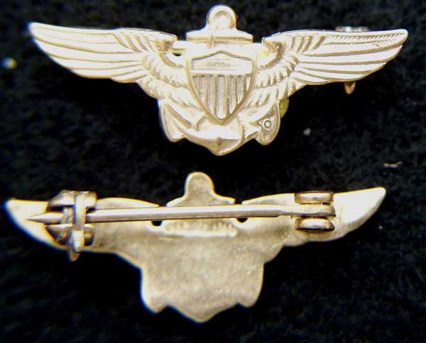 WWII Coast Guard Pilot Oversea Hat Wings Sterling Gold Plate Coast Guard Pilot Wings, Sterling wings, Silver wings,