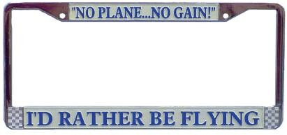 Id Rather Be Flying License Plate Frame, WingAero Item Number FR-IRC