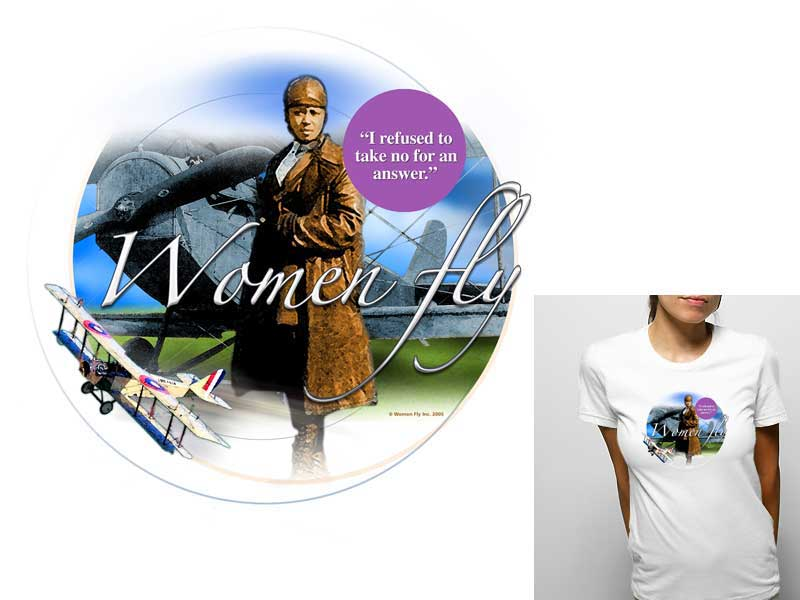 Bessie Coleman Youth T-shirt, Women Fly Item Number TS-WFBCOLEMAN
