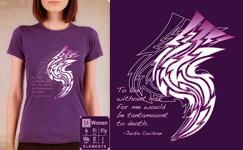 Element:Lightning/Jackie Cochran T-shirt, Women Fly Item Number TS-WFELLIGHT