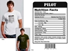 Pilot Nutrition Facts T-shirt, Women Fly Item Number TS-WFPNUTRI
