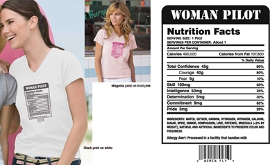 Woman Pilot Nutrition Facts T-shirt