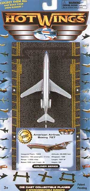 "American Airlines B727 (Approx. 5""), Hot Wings Toy Airplanes Item Number HW15104"