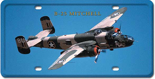 B-25 Mitchell License Plate, Vintage Sign Company Item Number LP27