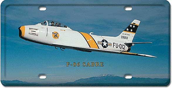 F-86 Sabre License Plate by Vintage Sign Company item number: LP51