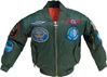 Youth MA1 Jacket With Patches, Green, FlightLine Item Number FL-MA1-G