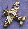 Red, White & Blue Airplane Crystal Pin