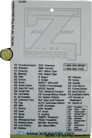 ZuluCard - Metar/TAF/PiRep Abbreviations, Zulu Airplane Kneeboards Item Number ZBL3-001