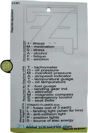 ZuluCard - VFR Required Equipment, Zulu Airplane Kneeboards Item Number ZBL4-002