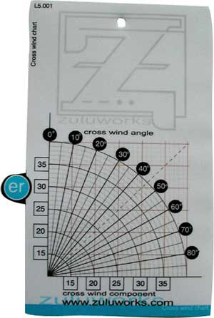 ZuluCard - Cross Wind Chart, Zulu Airplane Kneeboards Item Number ZBL5-001