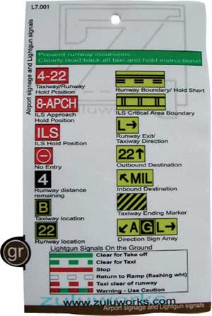 ZuluCard - Airport Signage and Light Gun Signals, Zulu Airplane Kneeboards Item Number ZBL7-001
