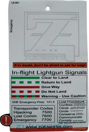 ZuluCard - Emergency Card, Zulu Airplane Kneeboards Item Number ZBL8-001