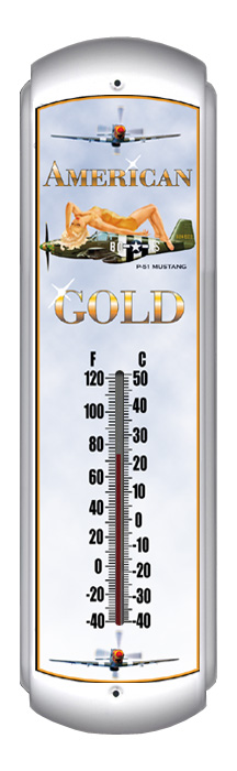 P-51 American Gold Thermometer (17 inch x 5 inch)