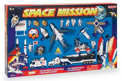 Space Mission 28 Piece Playset W/Kennedy Space Center Sign, Realtoy Diecast Toys Item Number RT38148K