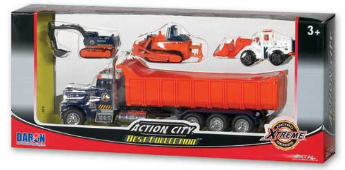 Action City Dump Truck W/3 Vehicles, Realtoy Diecast Toys Item Number RT38932D