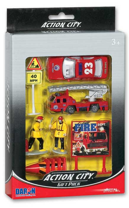Fire Dept 10 Piece Gift Set, Realtoy Diecast Toys Item Number RT38941F