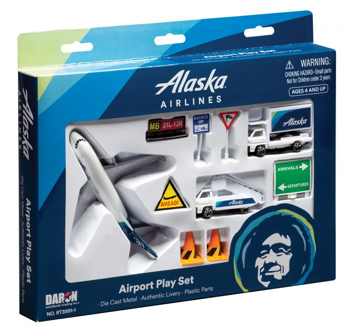 Alaska Airlines 12 Piece Airport Play Set - New Livery! by Realtoy Diecast Toys item number: RT3991-1