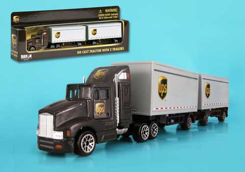 UPS Tandem Tractor Trailer, Realtoy Diecast Toys Item Number RT4345