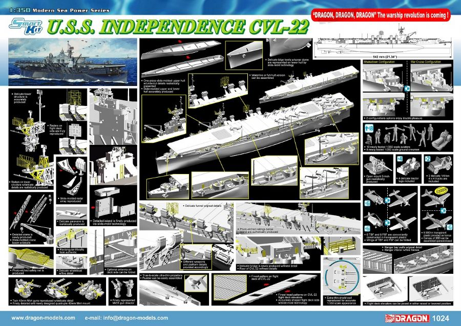 USS Independence CVL-22 1:350, Dragon Model Kits Item Number DRA1024
