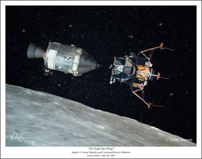 "Apollo 11 - ""The Eagle Has Wings"" by Mark Karvon Aviation Art Item Number: MKNAP11"