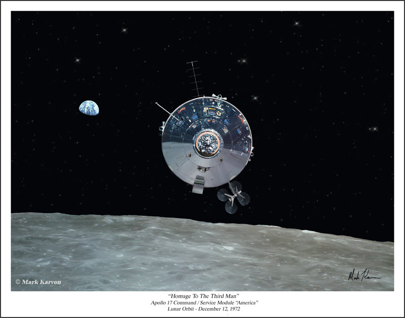 "Apollo 17 CSM ""America"" - ""Homage To The Third Man"" by Mark Karvon Aviation Art Item Number: MKNAP17"