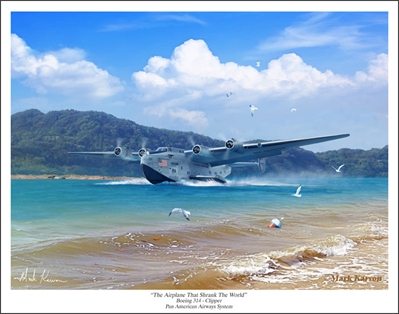 "Boeing 314 Clipper - ""The Airplane That Shrank The World"" by Mark Karvon Aviation Art Item Number: MKNB314C"